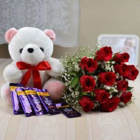 12 Red Roses and 5 Chocolates and 6 inch teddy